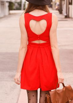 Red Straps Back Heart Cut Out Pleated Dress US$33.00