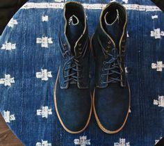 Indigo suede boots.