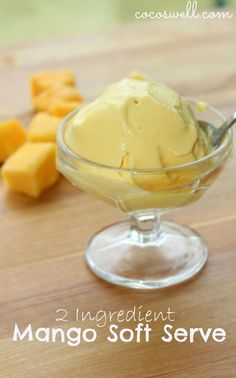 Vegan mango soft serve! Just two ingredients - - mango and coconut milk (I'd leave out the stevia in the recipe).