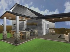 Graphic Rendering Of An Outdoor Living Space Design By Outdoor Homescapes  Of Houston. It Features Two Covered Patios With Roof Extensions.