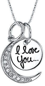 """FINE JEWELRY Crystal Sterling Silver """"I Love You to the Moon and Back"""" Pendant Necklace"""