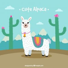 Cute alpaca background with cactus Free Vector Alpacas, Cute Alpaca, Llama Alpaca, Cute Drawings, Animal Drawings, Llamas Animal, Alpaca Drawing, Minnie Mouse Birthday Decorations, Llama Arts