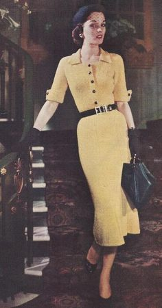 Vintage Knitting Pattern To Make Knitted Dress Straight Skirt One-Piece Vintage Fashion 1950s, 1930s Fashion, Mode Vintage, Retro Fashion, Vintage Hats, Vintage Style, Vintage Purses, Victorian Fashion, 1940s Dresses