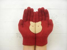 MOTHER'S DAY GIFT, Cat Gloves, Cats, Pet Lovers, Burgundy, Deep Red, Special…
