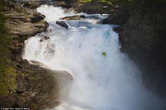 Kayaker Steve Fisher plummets down in Fleming Falls, Norway. Iceland Waterfalls, Jump Over, Niagara Falls, Kayaking, Norway, Scenery, Death, Adventure, Kayaks