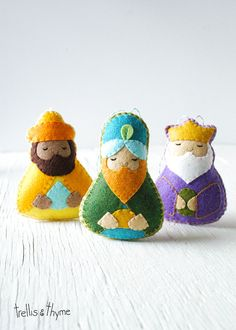 PDF Pattern - The Magi, Nativity, Three Wise Men Ornament Pattern, Christmas Ornament, Softie Pattern, Holiday Sewing Pattern