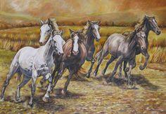 """""""Cavalli al galoppo"""" olio su tela (50 x 70)"""