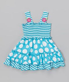 Another great find on #zulily! Blue Stripe & Polka Dot Ruffle Dress - Infant, Toddler & Girls by Samara #zulilyfinds