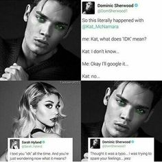 They are the cutest Sarah Hyland and Dominic Sherwood BUT I still think Dom and Kat should be together Shadowhunters Tv Show, Shadowhunters The Mortal Instruments, Book Tv, Book Series, Fandoms Unite, Clary Und Jace, Shadowhunter Academy, Dominic Sherwood, Cassandra Clare Books