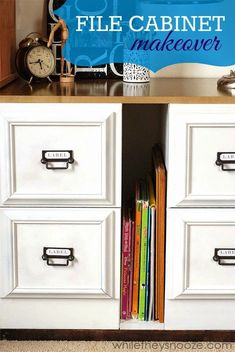Update ugly metal file cabinets with picture frames, spray paint and hardware