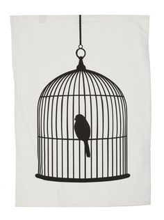 Birdcage Tea towel Black & white by Ferm Living