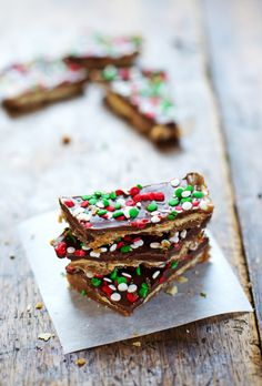 Chocolate Peanut Butter Saltine Toffee - simple, salty, and sweet. Perfect last-minute Christmas treat! | pinchofyum.com
