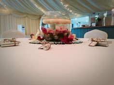 Wedding Venue, Marquee Wedding, Cup Cakes, Pink & White, Flowers, Shipley, West Yorkshire, Fish Bowl, Centre Pieces