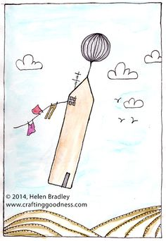 Draw a flying house towed by a balloon