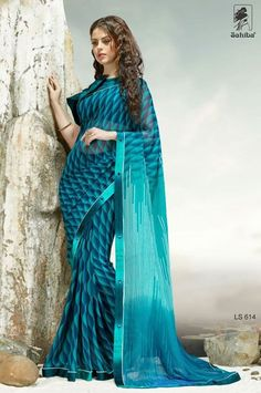 Georgette Blue Casual Printed Saree