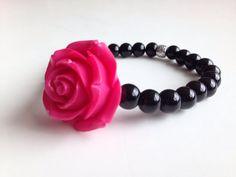 Pink rose and black glass bead ladies by GinasCreativeDesigns, $12.00