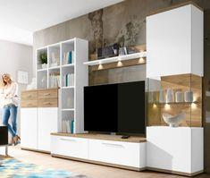 Details Zu Domina Caris Moderne Wohnwand Weiß / Sanremo Eiche Selbst  Zusammenstellen