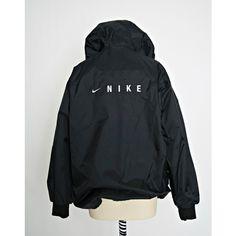 Vintage Nike Jacket 90s Nike Bomber Nike Windbreaker Black Size M ($36) ❤ liked on Polyvore featuring outerwear, jackets, nylon bomber jacket, wind breaker jacket, bomber jacket, vintage windbreaker and nylon jacket