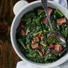 Try the Collard Greens with Lardons and Smoked Onion Jam Recipe on williams-sonoma.com/