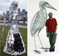 Queen Elizabeth and stork recycled steel sculptures made from used and discarded kitchen appliances and shopping carts