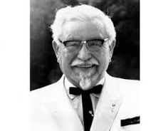 This is Harland David Sanders. Founder of KFC (kentucky fried chicken) He is known as Colonel Sanders.