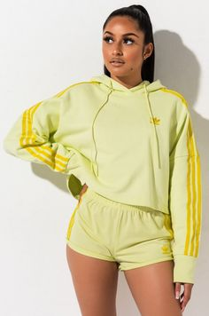 Adidas Cropped Hoodie And Stripe Shorts on Mercari Plus Clothing, Clothing Size Chart, Adidas Clothing, Swag Outfits For Girls, Cute Comfy Outfits, Bauchfreier Pullover, Adidas Cropped Hoodie, Adidas Pants, Short Girl Fashion