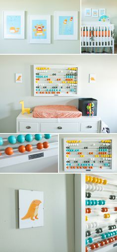 Our baby room is 90 percent complete!! Orange, grey, white, aqua and yellow boy baby room. (By Darbi G. Photography www.DarbiG.com)