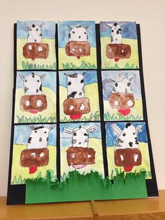 For whatever reason... I just love this! Some ideas: students could either draw a cow or 2 other animals. A farm unit for harvest time or for spring time and the hatchlings! 1/2 animal (portrait) 1/2 habitat (landscape). 1.5 months since class time is 30-45 minutes.