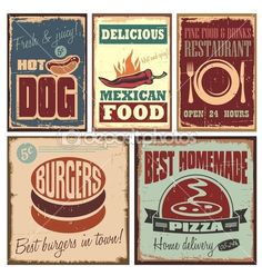 vintage stijl metalen borden en retro posters voor hotdog, pizza, hamburgers…