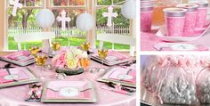 Party City: Pink & Silver balloons (20 for 5), Pink organza bag with silver cross for jelly bellies (5 dollars for 12), 6ft customized banner 20 dollars,  tablecloth 54x102 white, pink, and silver for 3 dollars, 16 beverage napkins for 2 dollars