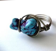 T3 style Wire Wrapped Ring, Boho, Hippie Ring, Jewelry, size (silver metal doesn't work but the style and stone are awesome)