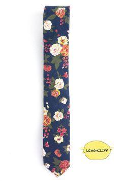 Vintage Skinny Floral Tie Wedding Floral Tie Blue by Lemoncliff
