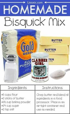 Homemade Bisquick Mix Everyday Products You Can Easily Make From Home (for less!) Save money and make your own pancakes, waffles and biscuits. These are all so much healthier, too! Homemade Dry Mixes, Homemade Spices, Homemade Seasonings, Homemade Products, Bisquick Mix Homemade, How To Make Bisquick, Homemade Buttermilk, Do It Yourself Food, Butter Ingredients