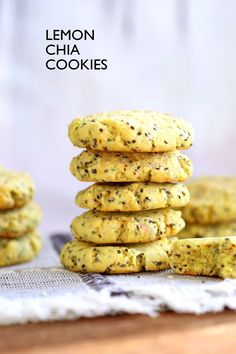Vegan Lemon Cookies with Chia seeds. 1 Bowl, 7 Ingredient Zesty, Bite size Soft cookies for snaking or weekend baking. Vegan Recipe. Easily Gluten-free, Nut-free | VeganRicha.com