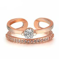 Rose Gold Plated Fashion Resizable Wedding & Engagement Ring AAA CZ diamond Jewelry For Women As Chirstmas Gift Engagement Ring Prices, Wedding Engagement, Wedding Band Sets, Sterling Jewelry, Rose Gold Color, Silver Color, Ring Verlobung, Jewelry Party, Plaque