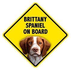 Brittany Spaniel on Board - 5x5 Car Window Sign New