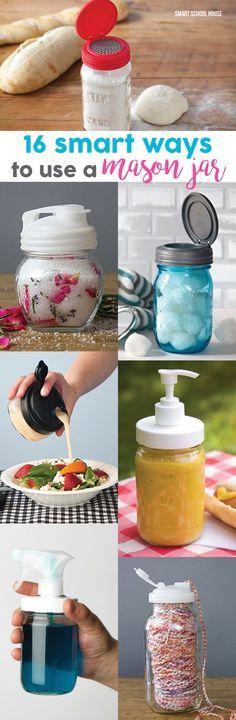 16 smart ways to use mason jars! Mason jar lids, mason jar pumps, plastic mason jars, and so much more.