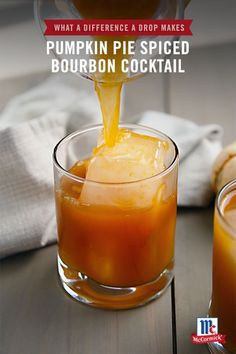 Got extra pumpkin puree? Use it in a holiday drink recipe! This Pumpkin Pie Spiced Bourbon Cocktail is made with McCormick Pure Pumpkin Pie Spice Blend Extract, infusing seasonal flavors into a warming whiskey cocktail. Have Pumpkin Spice Latte lovers at Bourbon Cocktails, Cocktail Recipes, Cocktail Drinks, Classic Cocktails, Party Drinks, Drink Recipes, Yummy Recipes, Pumpkin Recipes, Fall Recipes