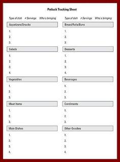Free Printable Potluck Sign Up Sheet Pdf From VertexCom