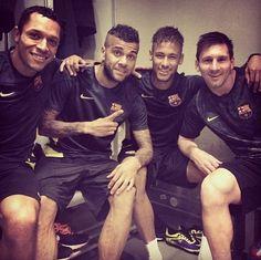 Adriano, Messi, Dani Alves and Neymar FC Barcelona in Milan FC Barcelona vs AC Milan