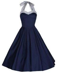 Blue Halter Pin Up Dress Vintage Style Dresses Full Circle                                                                                                                                                                                 More