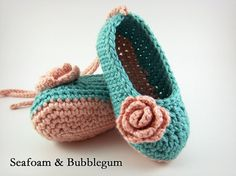 Crochet Baby Shoes, Ballet Flats with Roses and Flowers