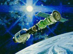 """Handshake in Space"" by Robert McCall, 1974. (NASA)"