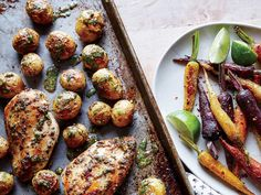 A very hot oven quickly roasts the potatoes and finishes the chicken without overcooking. The simple oil mixture, using solely extra-virg...