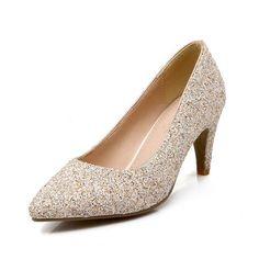 New Pointed Toe Spike High Heeled Shoes Pumps Women Glitter Dress Shoes Sexy Vintage Gold Match Handbag High Heels Wedding Shoes