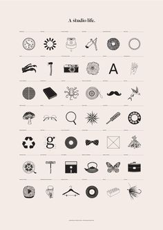 A series of illustrations outlining the typical life of the design studio, from essential tools and must haves, to thoughts, visionaries and revelations.