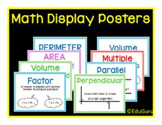 "Mathematics Definition Posters FREEBIE from EduGuru on TeachersNotebook.com -  (8 pages)  - This is a set of 6 colorful printable A4 posters to ""spice up"" your mathematics classroom. They cover mathematics definitions that meets common core standards."