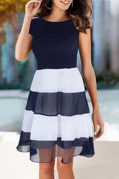 Vestido de rayas de la cucharada de moda de manga corta cuello de la gasa de empalme para las mujeres
