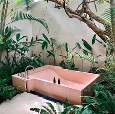 Home Interior Living Room .Home Interior Living Room Outdoor Bathrooms, Outdoor Baths, Outdoor Tub, Interior Architecture, Interior And Exterior, Architecture Memes, Pink Bathtub, Pink Tub, Soho House