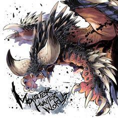 Nergigante - Monster Hunter: World - Image - Zerochan Anime Image Board Monster Hunter Memes, Monster Hunter 3rd, Fantasy Monster, Monster Art, Creature Concept Art, Creature Design, Mythical Creatures Art, Fantasy Creatures, Monster Hunter World Wallpaper